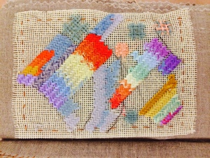 """Detail of twentieth century stitching from box of from Happy Hands Studio (Pendelton, Oregon) from unique artist book by Roberta Lavadour called """"Happy Hands"""""""