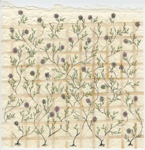 Flowers weave through the natural trellis in handmade paper. Drawing by Meredith Eliassen