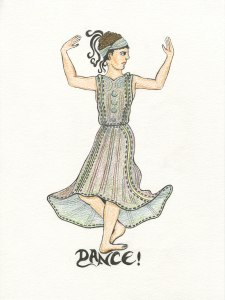 Image of a girl dancing inspired by an Etruscan vase from the 4th century BCE. Drawn by Meredith Eliassen, 2015.