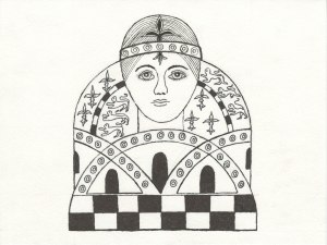 Chess Queen design based upon the earliest known Spanish chess queen with a face dating from medieval times. Drawing done with Sharpie ultra fine point pen by Meredith Eliassen, 2015