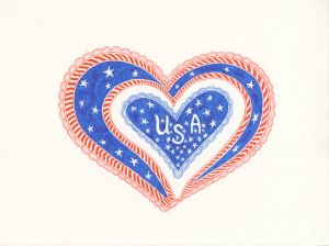 Design of heart with stars and stripes by Meredith Eliassen, 2015.