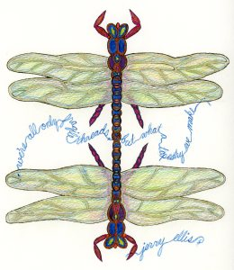 "Dragonfly design by Meredith Eliassen, 2015, features quote from Jerry Ellis, ""We're all only fragile threads, but what a tapestry we make."""