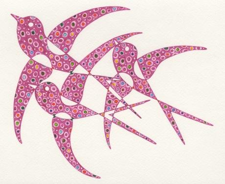 Art Deco Birds - pink